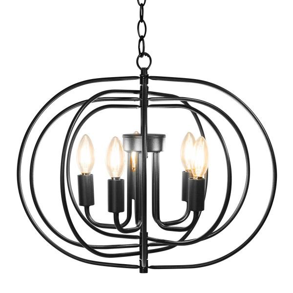 "16"" Folding Rotatable Chandelier 5 Lights Metal Ceiling Lamp EP24481US"