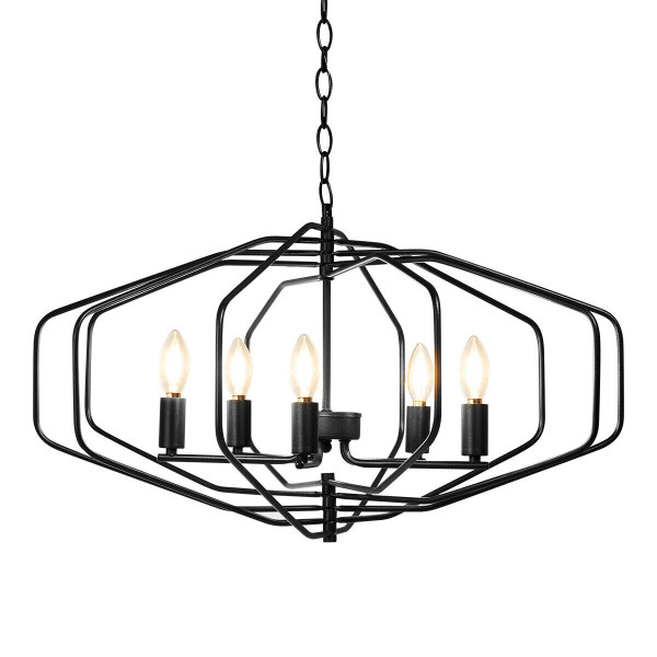 "28"" Folding Rotatable Chandelier 5 Lights Metal Ceiling Lamp EP24482US"