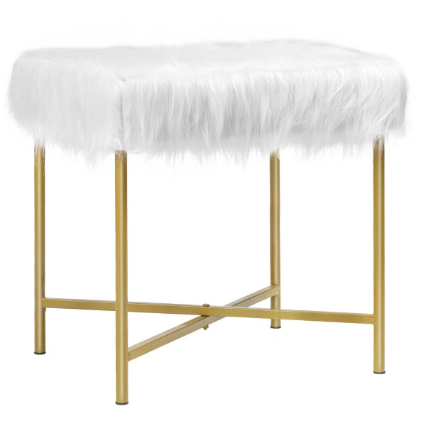 Faux Fur Ottoman Decorative Stool With Metal Legs HW63935WH