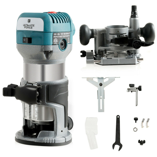 1.25Hp Palm Router Kit Variable Speed Woodworking With Plunge Base ET1352US