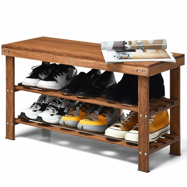 3-Tier Bamboo Shoe Bench Storage Rack Organizer HW63245