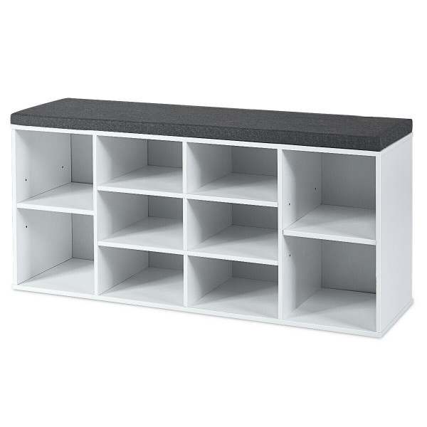 10-Cube Organizer Entryway Padded Shoe Storage Bench-White HW63680WH