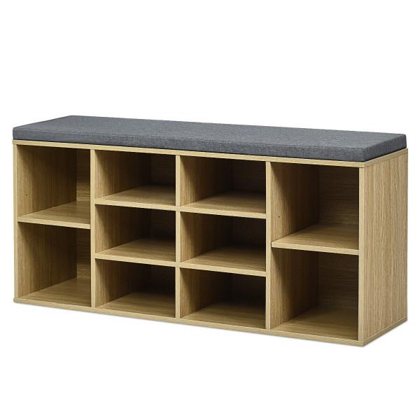 10-Cube Organizer Entryway Padded Shoe Storage Bench-Beige HW63680NA