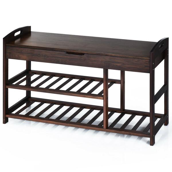 3-Tier Bamboo Shoe Bench Entryway Storage Rack-Black HW63244BK