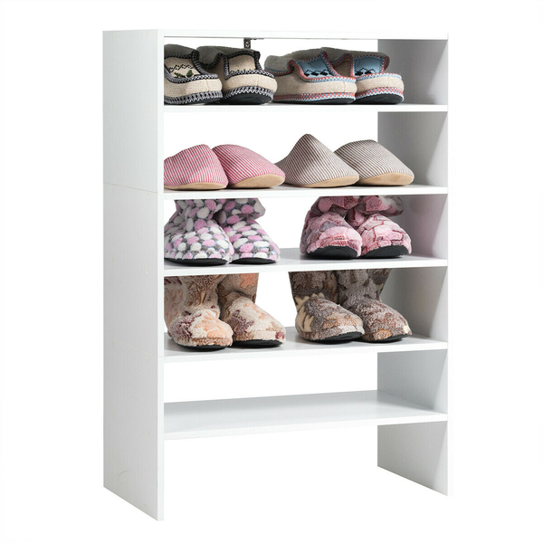 3 Pcs 24-Inch 2-Tier Horizontal Stackable Shoe Rack-White HW63854WH