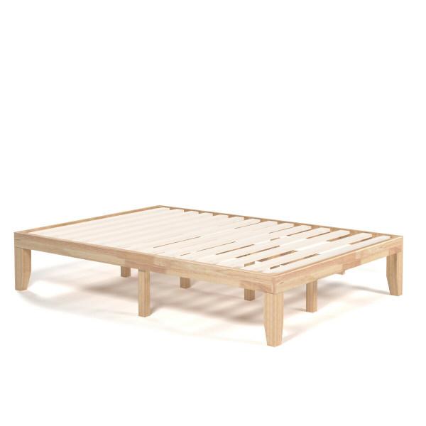 """14"""" Full Size Wood Platform Bed Frame With Wood Slat Support-Natural HW63259NA"""