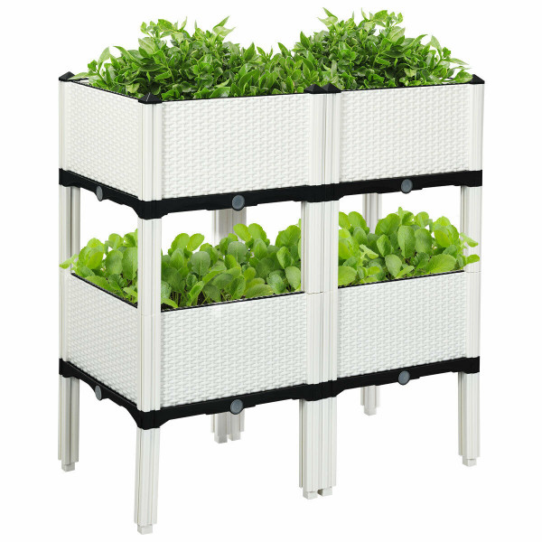 Set Of 4 Elevated Flower Vegetable Herb Grow Planter Box OP70301WH