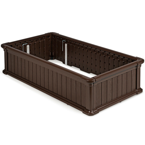 "48"" X 24"" Raised Garden Bed Rectangle Plant Box-Brown OP70322BN"