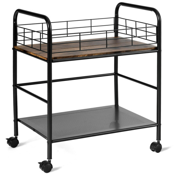 2-Tier Storage Rolling Cart Trolley With Lockable Wheels Organizer HW63904