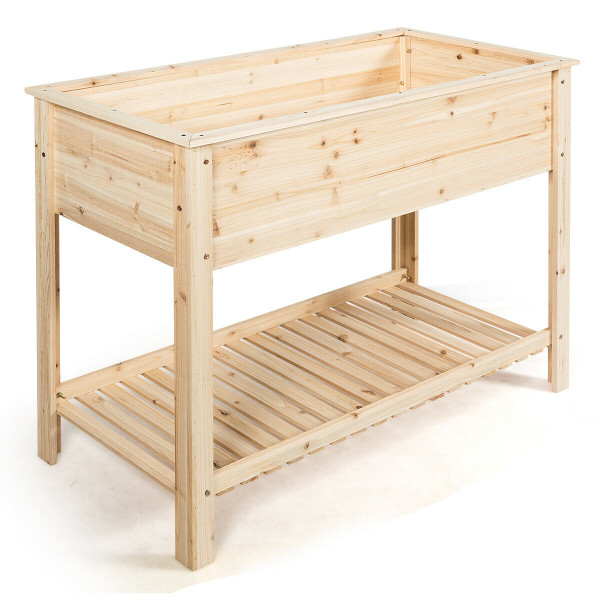 Elevated Wood Planter Box Stand With Storage Shelf GT3473