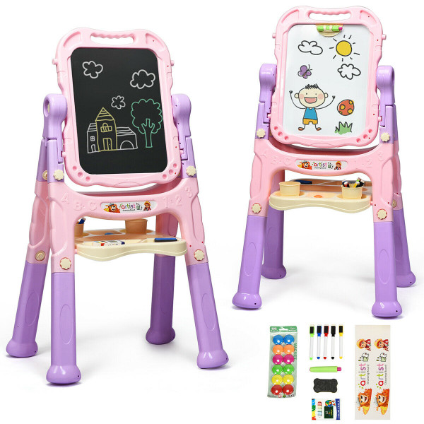 Kids Flip-Over Magnetic Double Sided Art Easel-Pink TY580167PI