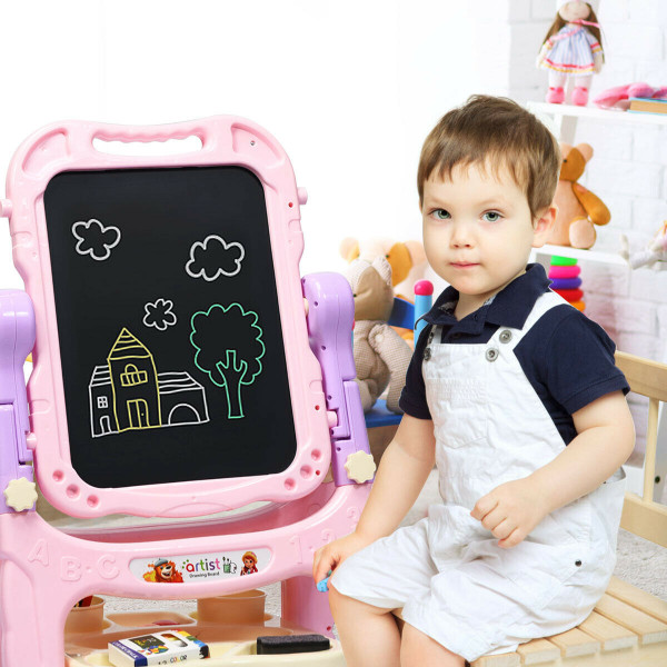 Double Sided Magnetic Drawing Art Easel-Pink TY580168PI