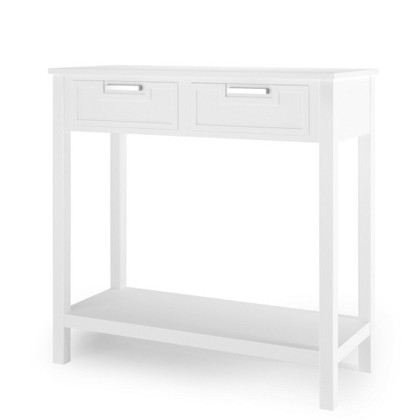 2 Drawers Accent Console Entryway Storage Shelf-White HW65113WH