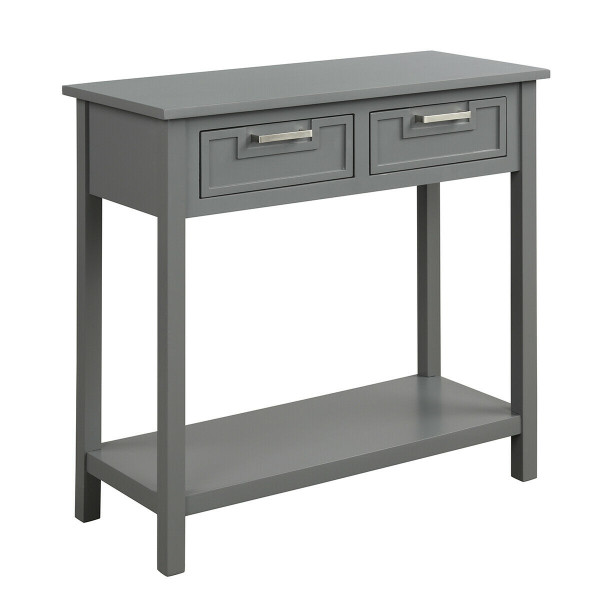 2 Drawers Accent Console Entryway Storage Shelf-Gray HW65113GR