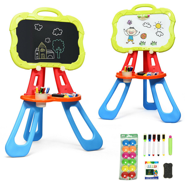 4 In 1 Double Sided Magnetic Kids Art Easel-Blue TY580169BL