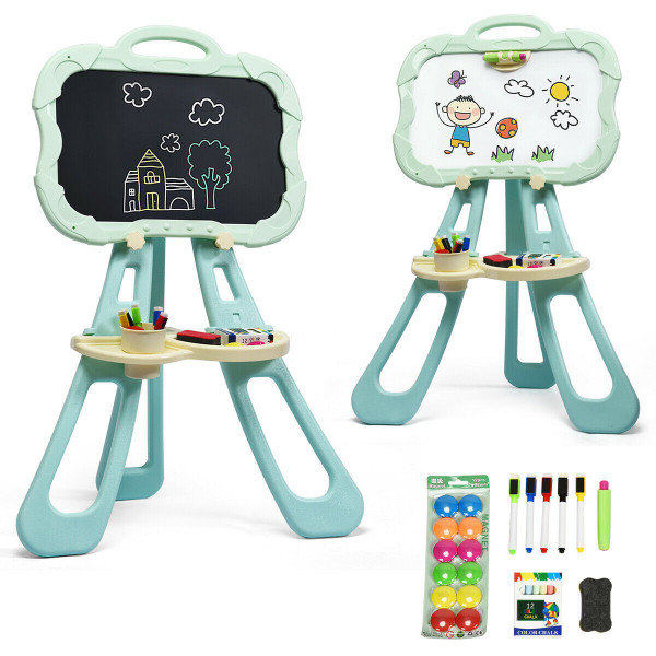 4 In 1 Double Sided Magnetic Kids Art Easel-Green TY580169GN