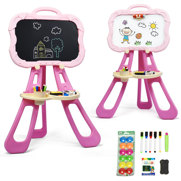4 In 1 Double Sided Magnetic Kids Art Easel-Pink TY580169PI