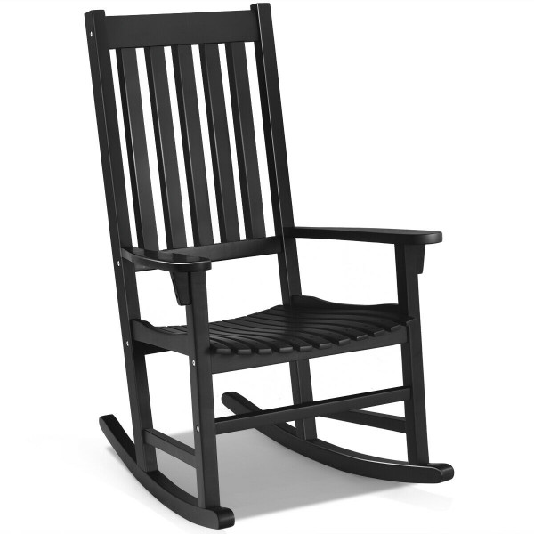 Indoor Outdoor Wooden High Back Rocking Chair-Black OP70305BK