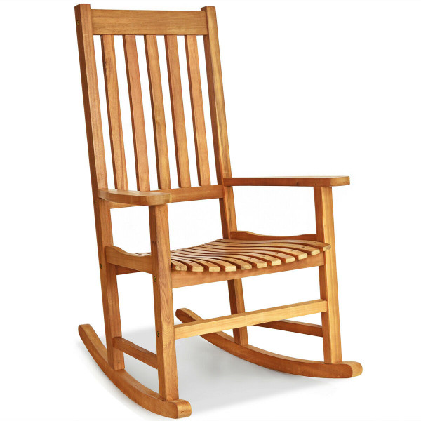 Indoor Outdoor Wooden High Back Rocking Chair-Wood OP70305OR