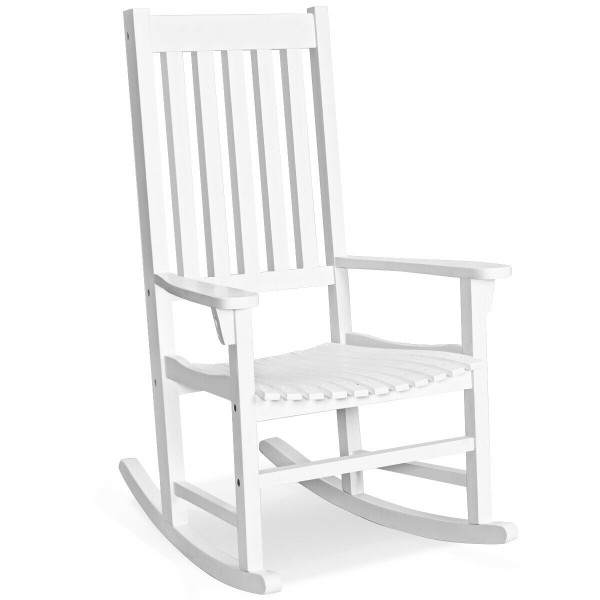 Indoor Outdoor Wooden High Back Rocking Chair-White OP70305WH
