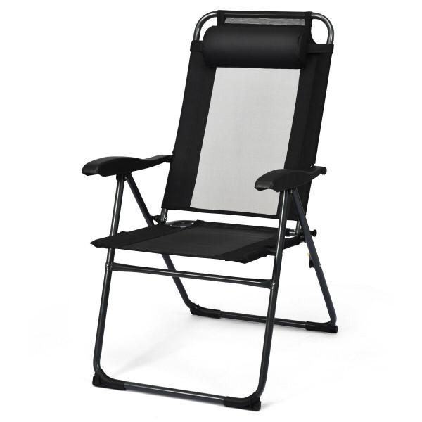 2 Pcs Patio Adjustable Folding Recliner Chairs-Black OP70270BK-2