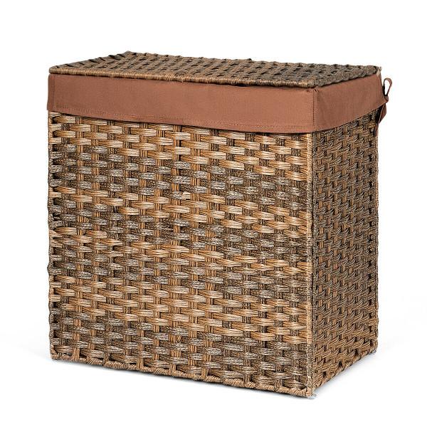 Hand-Woven Foldable Rattan Laundry Basket-Brown HW64366BN