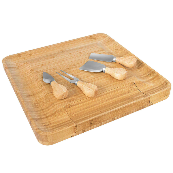 Bamboo Cheese Board & Knife Set W/ Slide-Out Drawer HW64328