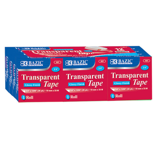 (2 Pk) Bazic Tape Refill Transparent Tape 12 Per Pack BAZ907BN