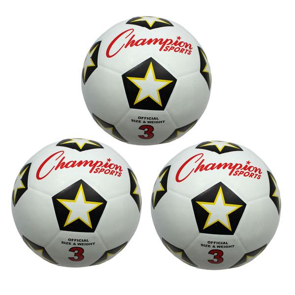 (3 Ea) Champion Soccer Ball No 3 CHSSRB3-3