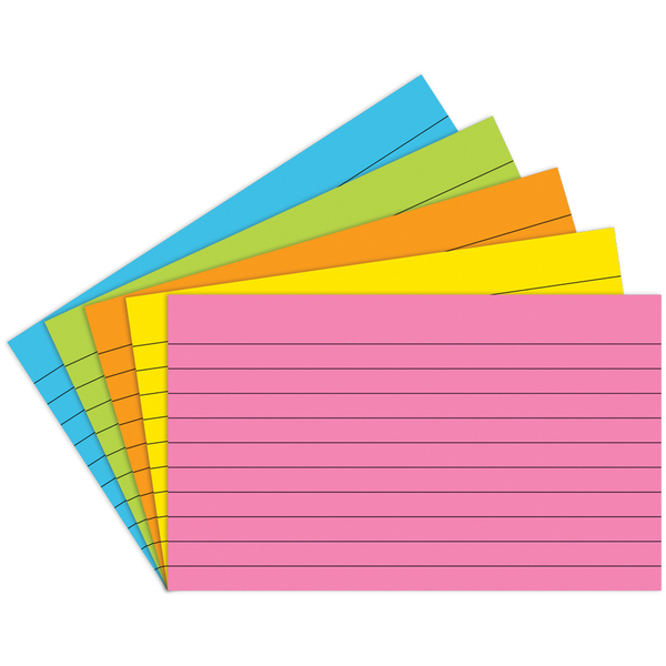 Index Cards 3X5 Lined 75 Ct Brite Assorted TOP362