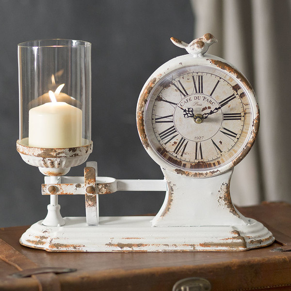 """CTW Home """"Café Du Parc"""" Candle Holder And Clock 790083"""