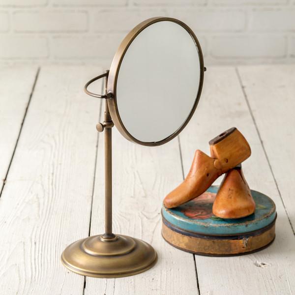 CTW Home Adjustable Round Brass Table Mirror 840150