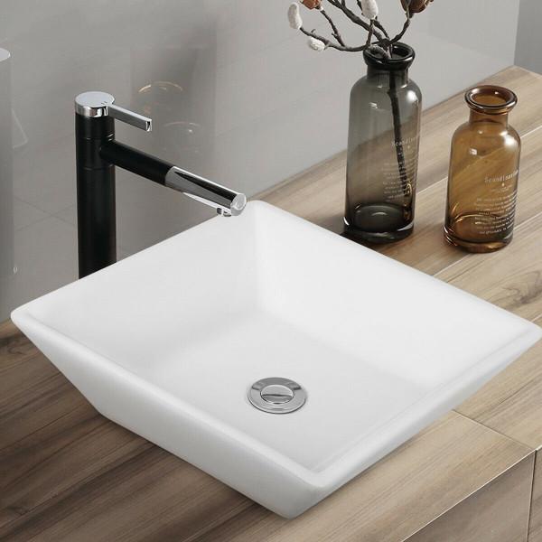 "16"" X 16"" Square Bathroom Ceramic Vessel Sink With Pop-Up Drain BA7537"