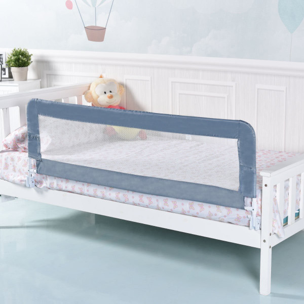 "59"" Breathable Baby Children Toddlers Bed Rail-Gray BB0454GR"