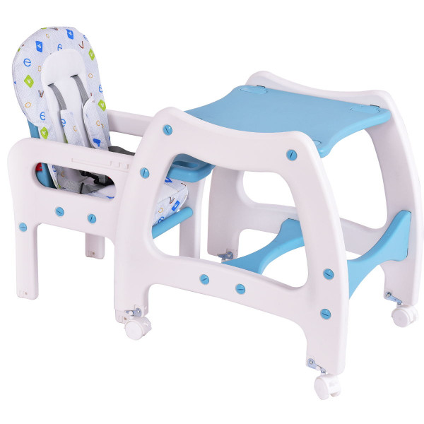 3 In 1 Baby High Chair Convertible Play Table-Blue BB4703BL