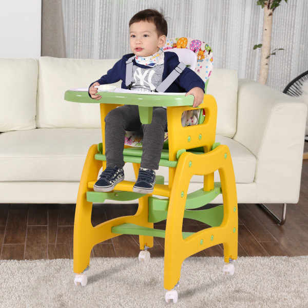 3 In 1 Baby High Chair Convertible Play Table-Yellow BB4703YE
