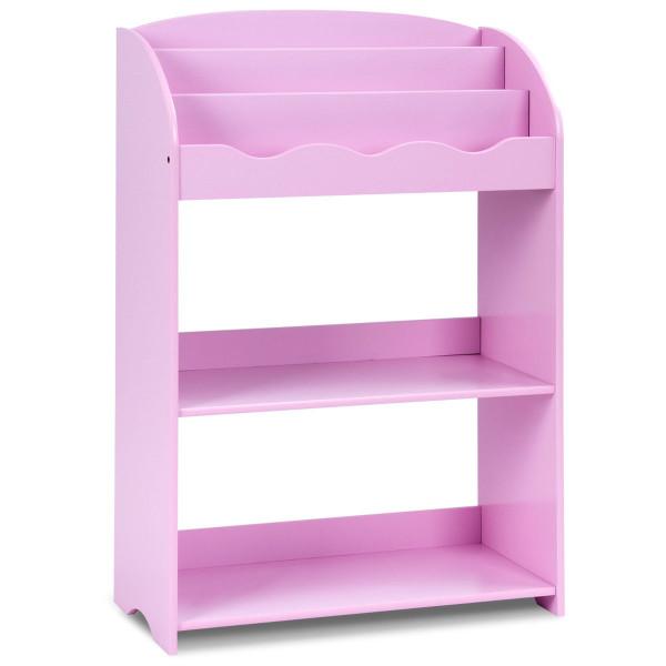3-Tier Kids Bookshelf Magazine Storage Bookcase -Pink BB4828PI