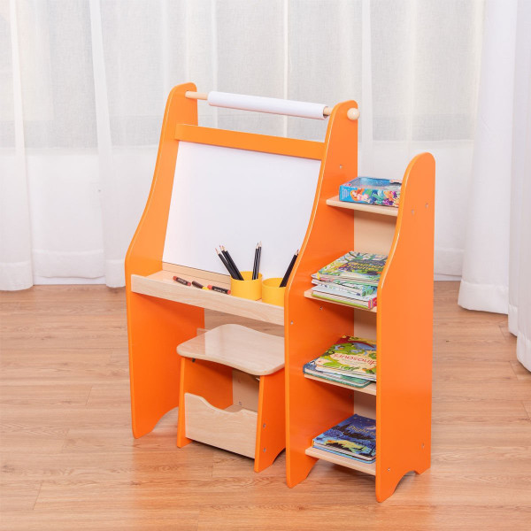 Art Kids Drawing Desk With Shelf And Stool BB4885