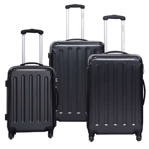 Globalway 3 Pcs Luggage Travel Set Bag Abs+Pc Trolley Suitcase Black BG22233BK