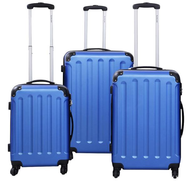 Globalway 3 Pcs Luggage Travel Set Bag Abs+Pc Trolley Suitcase Blue BG22233BL