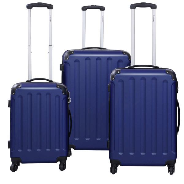 Globalway 3 Pcs Luggage Travel Set Bag Abs+Pc Trolley Suitcase Dark Blue BG22233DRBL