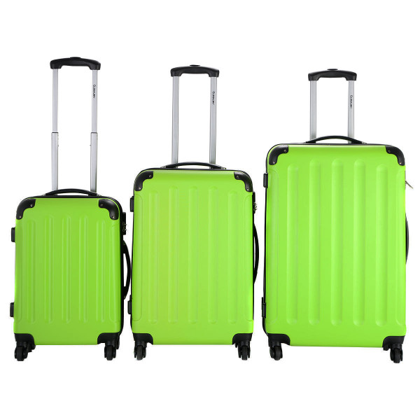 Globalway 3 Pcs Luggage Travel Set Bag Abs+Pc Trolley Suitcase Green BG22233GN