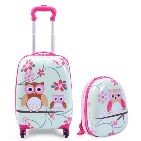 """2 Pcs 12"""" 16"""" Green Abs Kids Suitcase Luggage Set BG49863"""