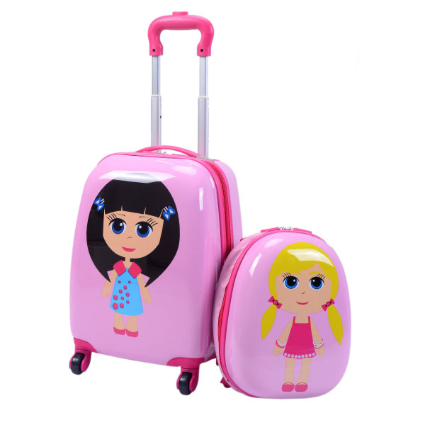 "2 Pcs 12"" 16"" Pink Kids Girls Suitcase Backpack Luggage Set BG49864"