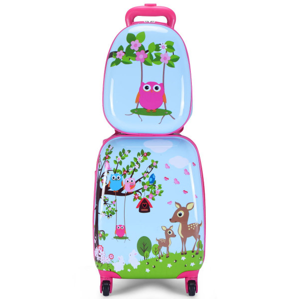 "2 Pcs 12"" 16"" Blue Abs Kids Suitcase Backpack Luggage Set BG49865"