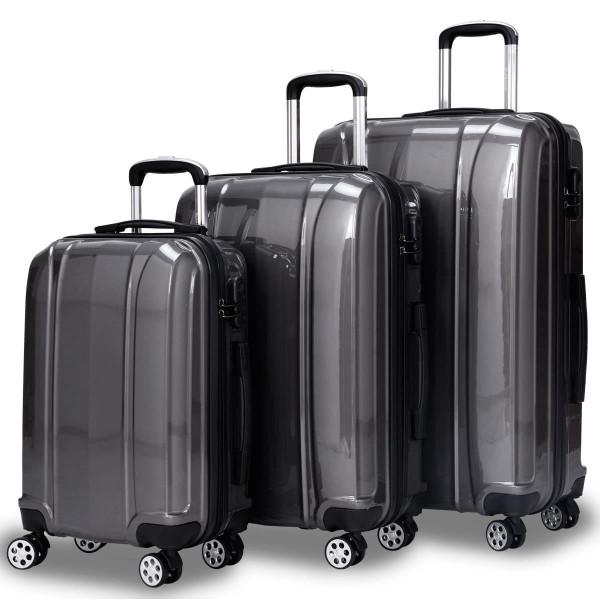 "Globalway 3 Pcs 20"" 24"" 28"" Abs+Pc Luggage Travel Set-Gray BG50222GR"