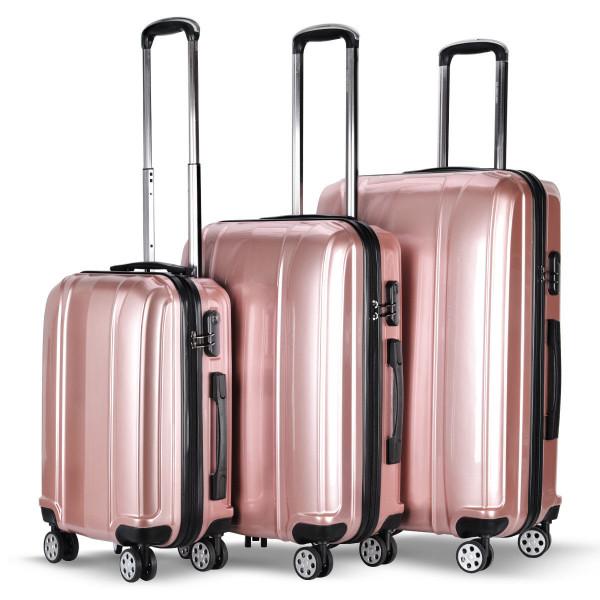 """Globalway 3 Pcs 20"""" 24"""" 28"""" Abs+Pc Luggage Travel Set-Pink BG50222PI"""