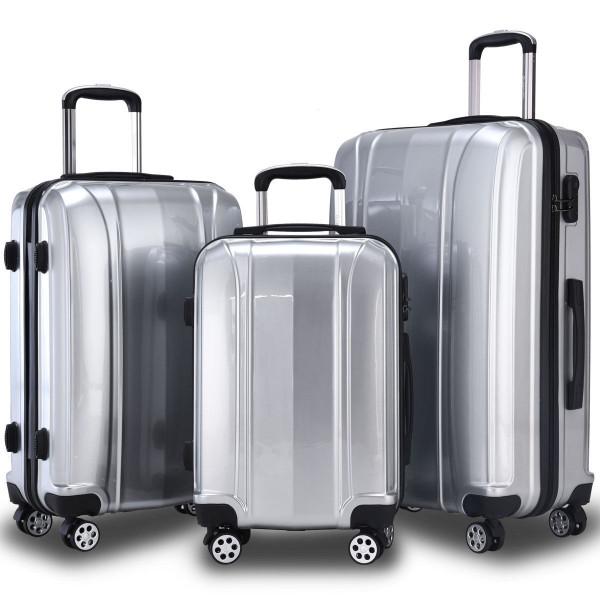 "Globalway 3 Pcs 20"" 24"" 28"" Abs+Pc Luggage Travel Set-Silver BG50222SL"