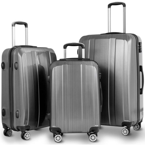 "Globalway 20"" 24"" 28"" 3Pc Luggage Set Suitcase Spinner W/ Tsa Lock-Gray BG50334GR"