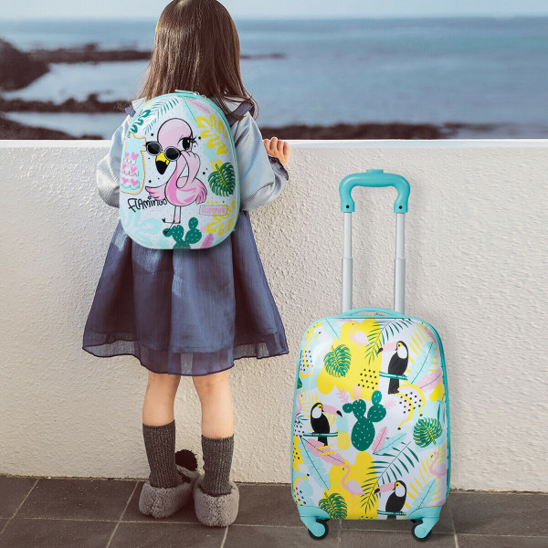 "2 Pcs Kids Luggage Set 12"" Backpack & 16"" Rolling Suitcase Travel BG50535"